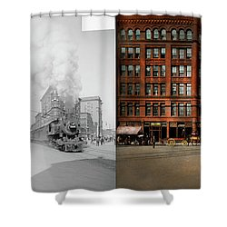 Shower Curtain featuring the photograph Train - Respect The Train 1905 - Side By Side by Mike Savad