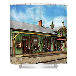 Shower Curtain featuring the photograph Train Station - Garrison Train Station 1880 by Mike Savad