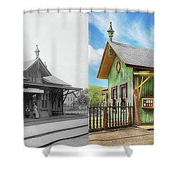 Shower Curtain featuring the photograph Train Station - Garrison Train Station 1880 - Side By Side by Mike Savad