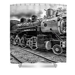 Train - Steam Engine Locomotive 385 In Black And White Shower Curtain
