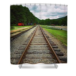 Shower Curtain featuring the photograph Train Tracks by Linda Sannuti