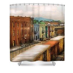Train - Yard - Train Town Shower Curtain by Mike Savad