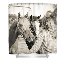Shower Curtain featuring the photograph Training The Horses In Sepia by Kelly Hazel