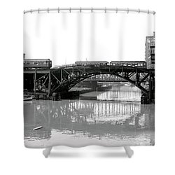Shower Curtain featuring the photograph Trains Cross Jack Knife Bridge - Chicago C. 1907 by Daniel Hagerman