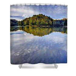 Trakoscan Lake In Autumn Shower Curtain