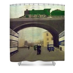 1950s Tram, Locomotive, Bus And Cars In Sheffield  Shower Curtain