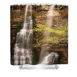 Tranquil Falls In Vertical Shower Curtain by Tamyra Ayles