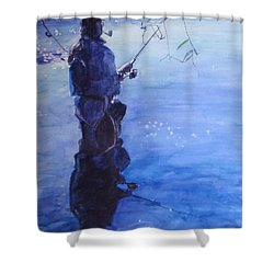 Tranquil Fishing Shower Curtain by Greta Corens