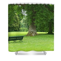 Tranquil Space Shower Curtain by Mary Mikawoz