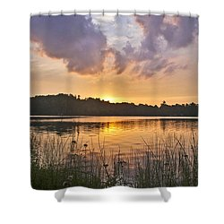 Tranquil Sunset On The Lake Shower Curtain by Gary Eason