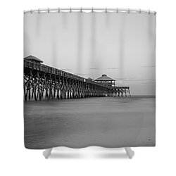 Tranquility At Folly Grayscale Shower Curtain