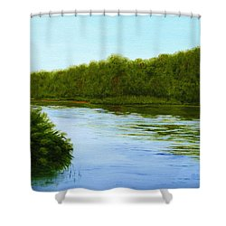 Tranquility On Taylor's Creek Shower Curtain by Robin Capecci