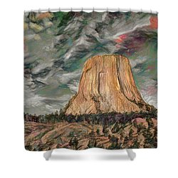 Transcendental Devils Tower Shower Curtain