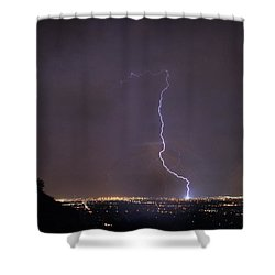 Shower Curtain featuring the photograph It's A Hit Transformer Lightning Strike by James BO Insogna
