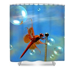 Transparent Red Dragonfly Shower Curtain by Joyce Dickens