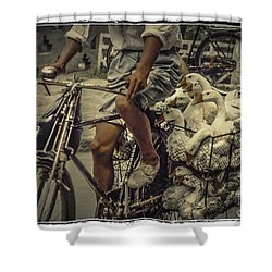 Shower Curtain featuring the photograph Transport By Bicycle In China by Heiko Koehrer-Wagner