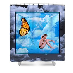 Trapped Butterfly Shower Curtain