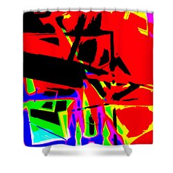 Shower Curtain featuring the digital art Trator Crash by Lola Connelly