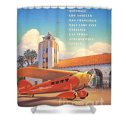 Travel By Air Shower Curtain by Nostalgic Prints