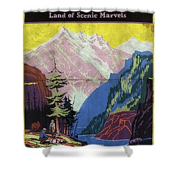 Travel By Train To Colorado Rockies - Vintage Poster Folded Shower Curtain