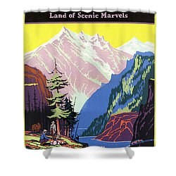 Travel By Train To Colorado Rockies - Vintage Poster Restored Shower Curtain