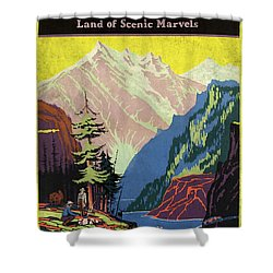 Travel By Train To Colorado Rockies - Vintage Poster Vintagelized Shower Curtain