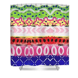 Shower Curtain featuring the mixed media Painted Pattern 1- Art By Linda Woods by Linda Woods