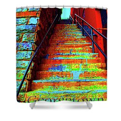 Travel-exorcist Steps Shower Curtain by Jost Houk