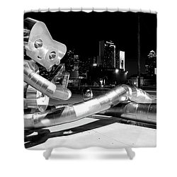 Waiting On The Train 8916 Bw Shower Curtain