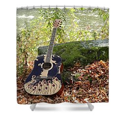 Traveling Musician Shower Curtain by Krys Whitney