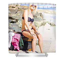 Shower Curtain featuring the photograph Traveling Tourist With Suitcase On Beach Vacation by Jorgo Photography - Wall Art Gallery