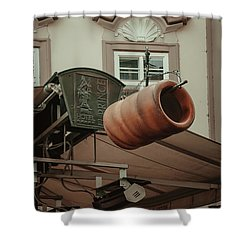 Shower Curtain featuring the photograph Trdelnik. Prague Architecture by Jenny Rainbow