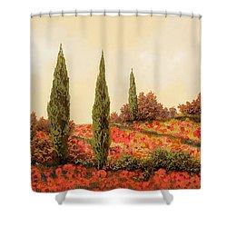Tre Case Tra I Papaveri Shower Curtain