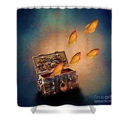 Treasure Chest Shower Curtain by KaFra Art