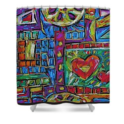 Shower Curtain featuring the pastel Heart Felt Treasure by Dianne  Connolly