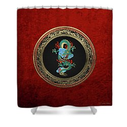 Treasure Trove - Turquoise Dragon Over Red Velvet Shower Curtain by Serge Averbukh