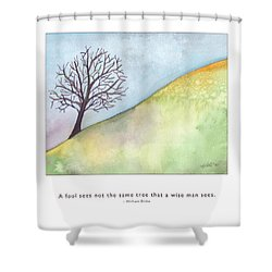 Shower Curtain featuring the painting Tree A Wise Man Sees by Kristen Fox