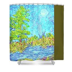 Shower Curtain featuring the digital art Tree Aglow In Moonlight - Mountain Scene In Boulder County Colorado by Joel Bruce Wallach
