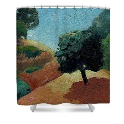 Shower Curtain featuring the painting Tree Alone by Gary Coleman