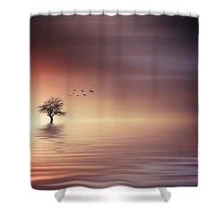Tree And Birds On Lake Sunset Shower Curtain