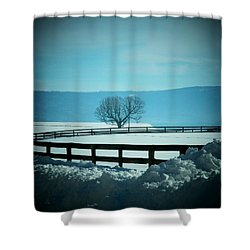 Tree And Fence In Snow Shower Curtain