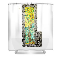 Tree And Stump Inside A Window Shower Curtain