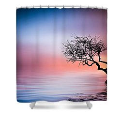 Tree At Lake Shower Curtain
