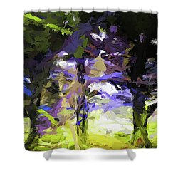 Tree Avenue Lavender Lilac Green Shower Curtain