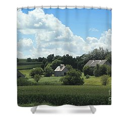 Shower Curtain featuring the photograph Three Barns by Yumi Johnson