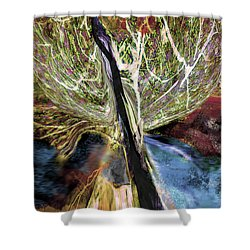Tree Bent By Wind Shower Curtain