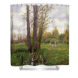 Tree Beside Water  Shower Curtain by Ernest Le Villain
