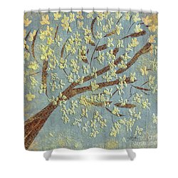 Shower Curtain featuring the digital art Tree Blossoms by Lois Bryan