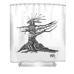 Tree Castle Drawing Shower Curtain