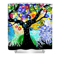 Shower Curtain featuring the painting Tree Dance by Patricia Arroyo